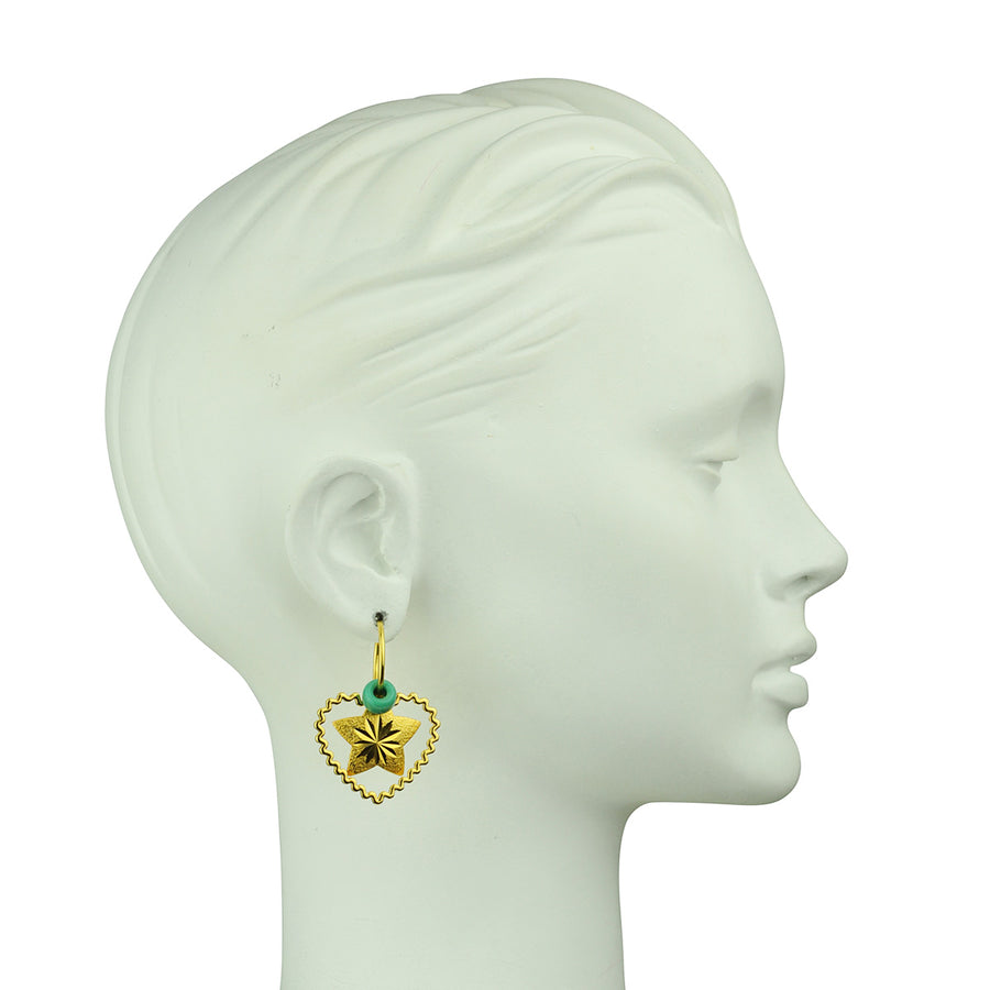 Katerina Psoma  Unmatched Hoop Earrings with Charms bust right