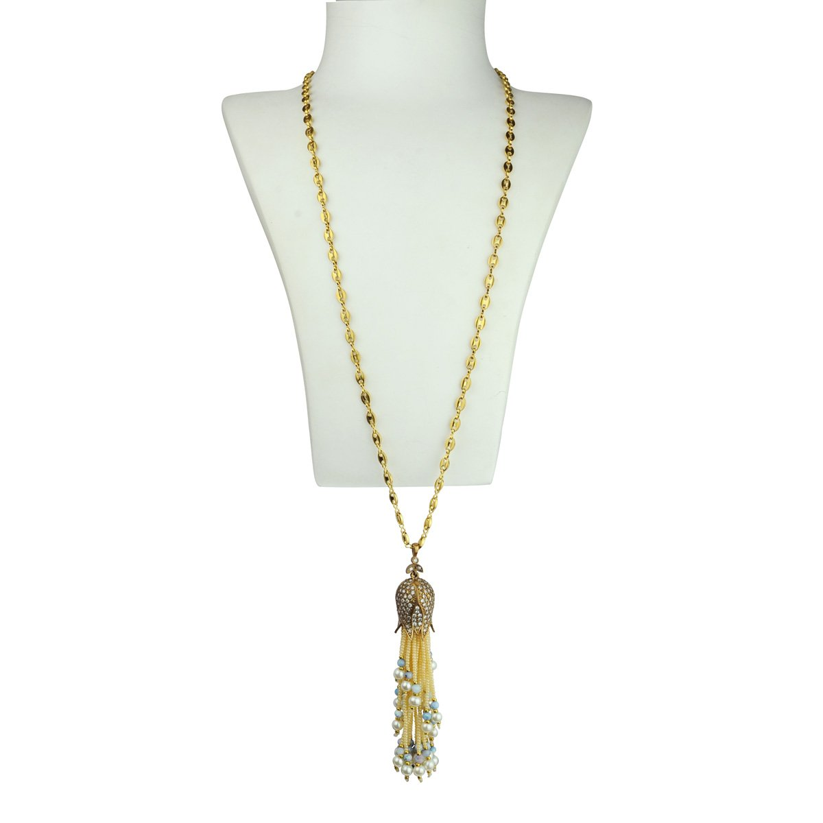 long chain necklace with a pendant tassel katerina psoma
