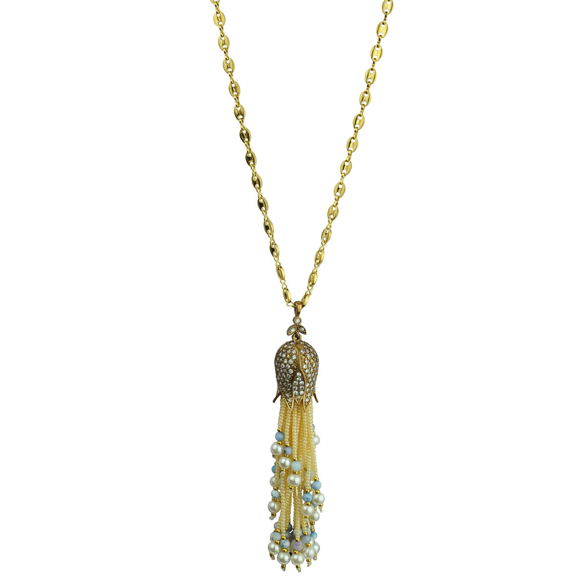 Pearl Tassel with chain Long Necklace katerina psoma