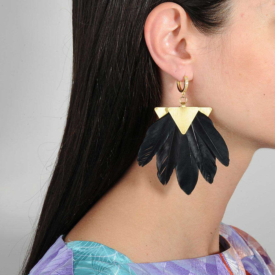 Gold plated black feather statement earrings katerina Psoma