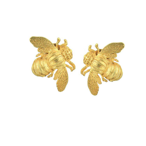 Gold plated bee stud earrings Katerina Psoma