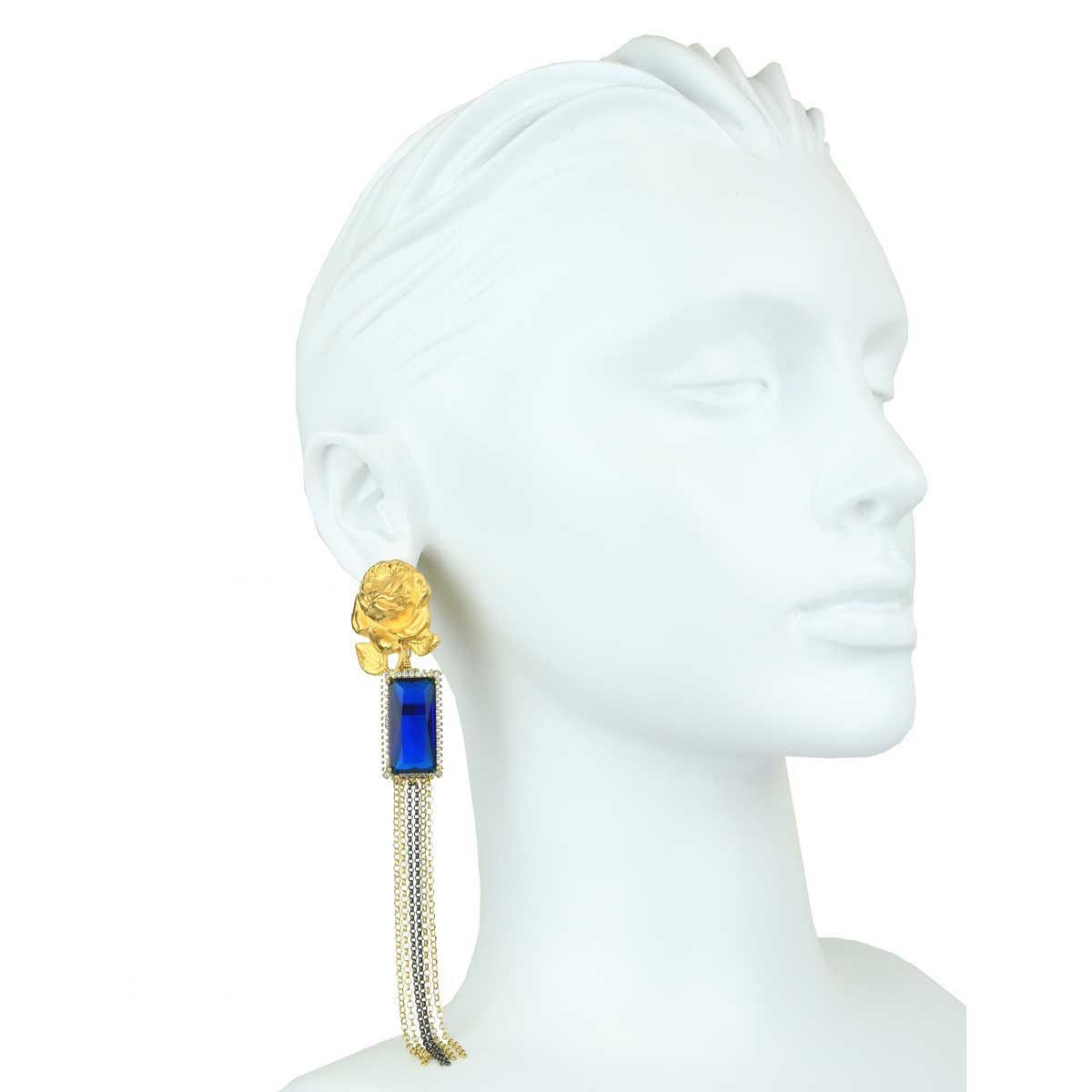 Melissa Βlue Crystal and Brass Motifs Clip Earrings