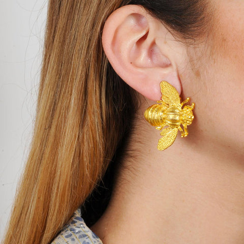Gold plated bee clip earrings Katerina Psoma