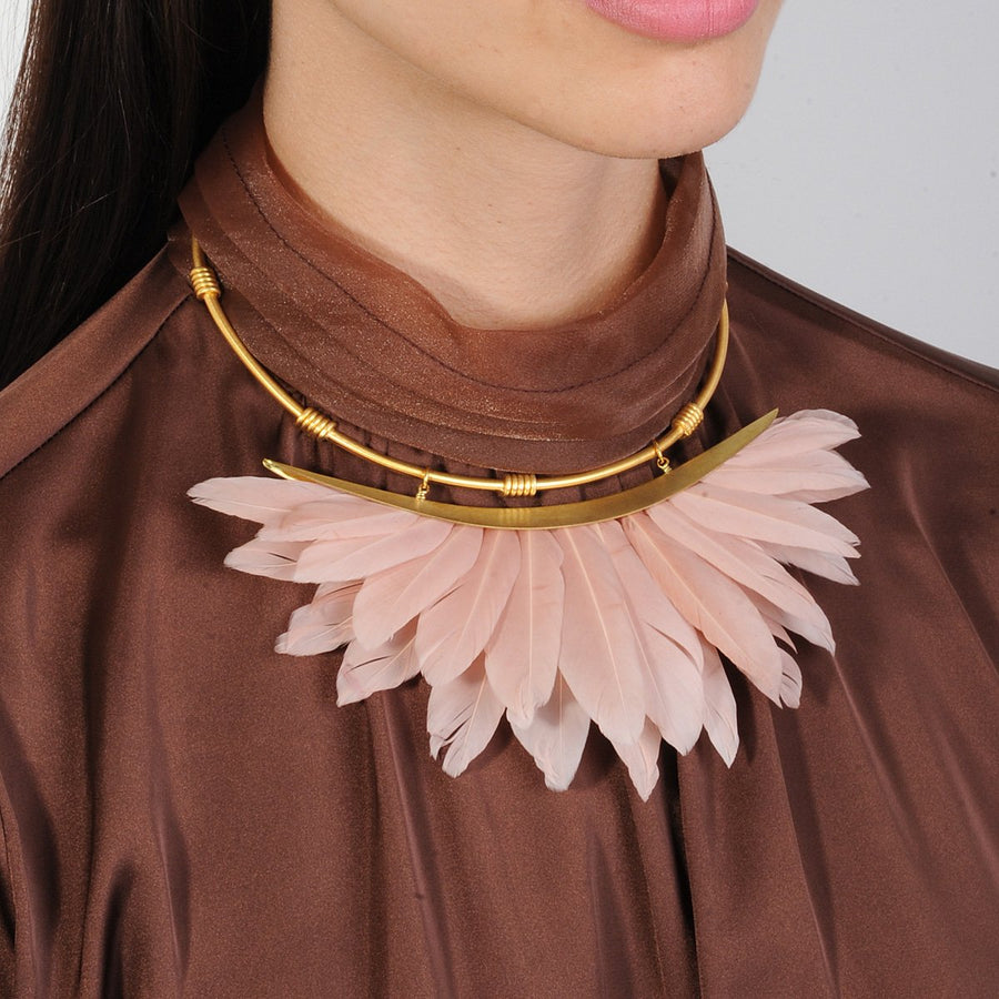 Dusky Beige Feather Gold Plated Metal Collar Necklace katerina psoma model