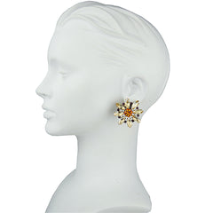 Alice Beige Crystal Rosette Clip Earrings