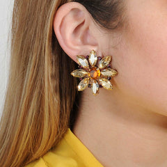 Clip Earrings Alice Beige Crystal Rosette Katerina Psoma