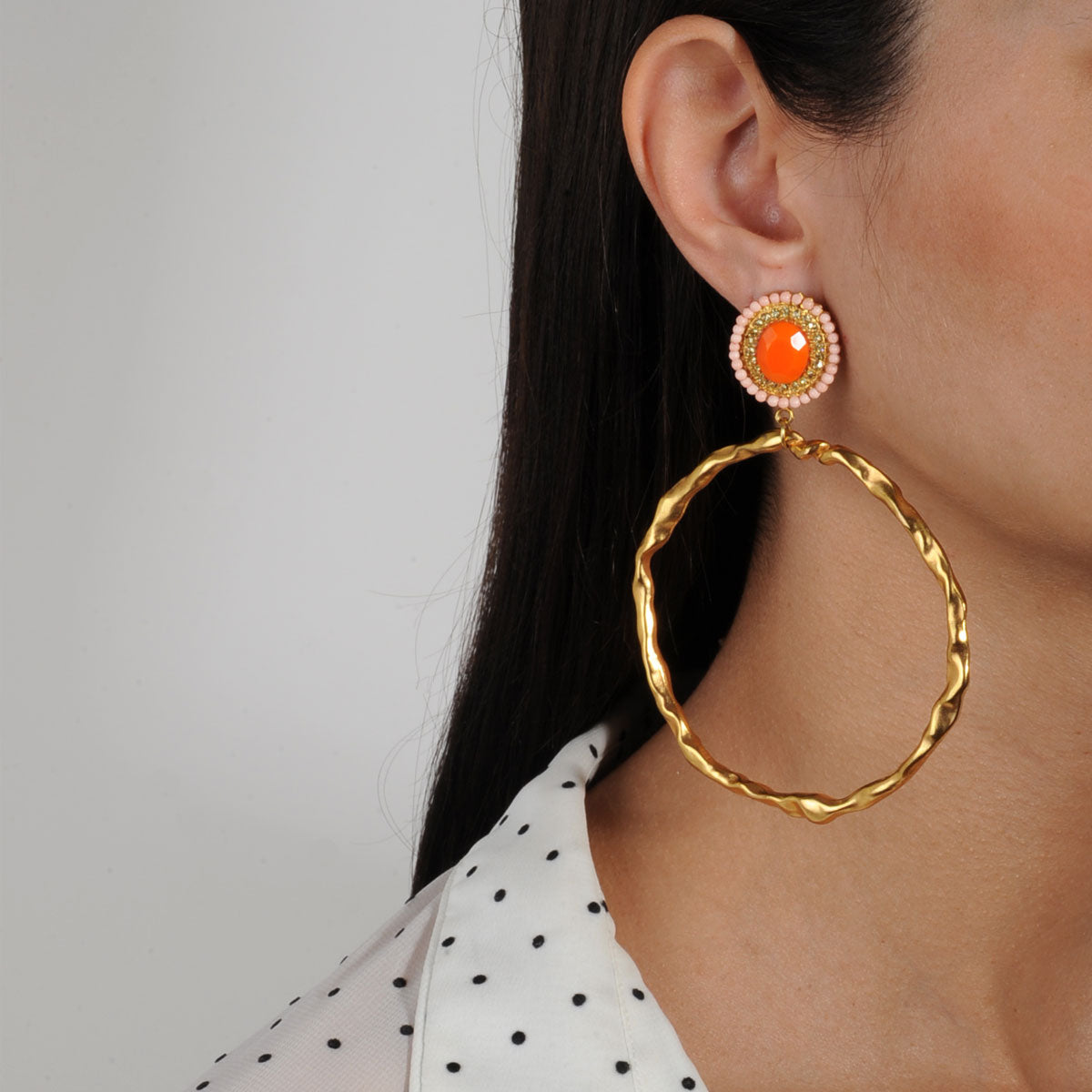 Gina Orange Rosettes and Gold plated Metal Hoops