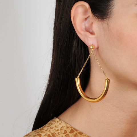 Cyclos Gold Plated Metal and 925 Sterling Silver Hoops