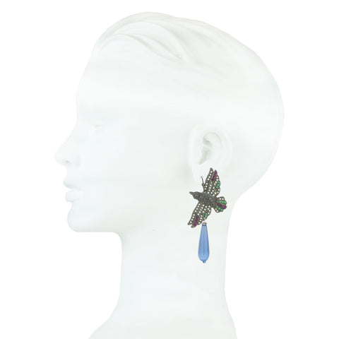 Nuwa Black Plated Metal Bird Earrings with Blue Drops