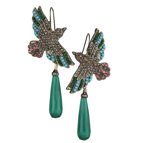 Nuwa Black Plated Metal Bird Earrings with Green Drops