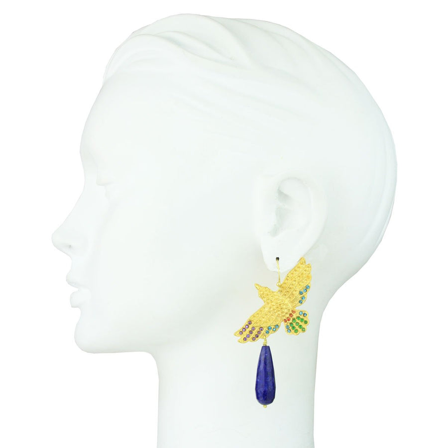 Gold Plated Metal Bird Earrings with Lapis Lazuli Drops bust katerina psoma