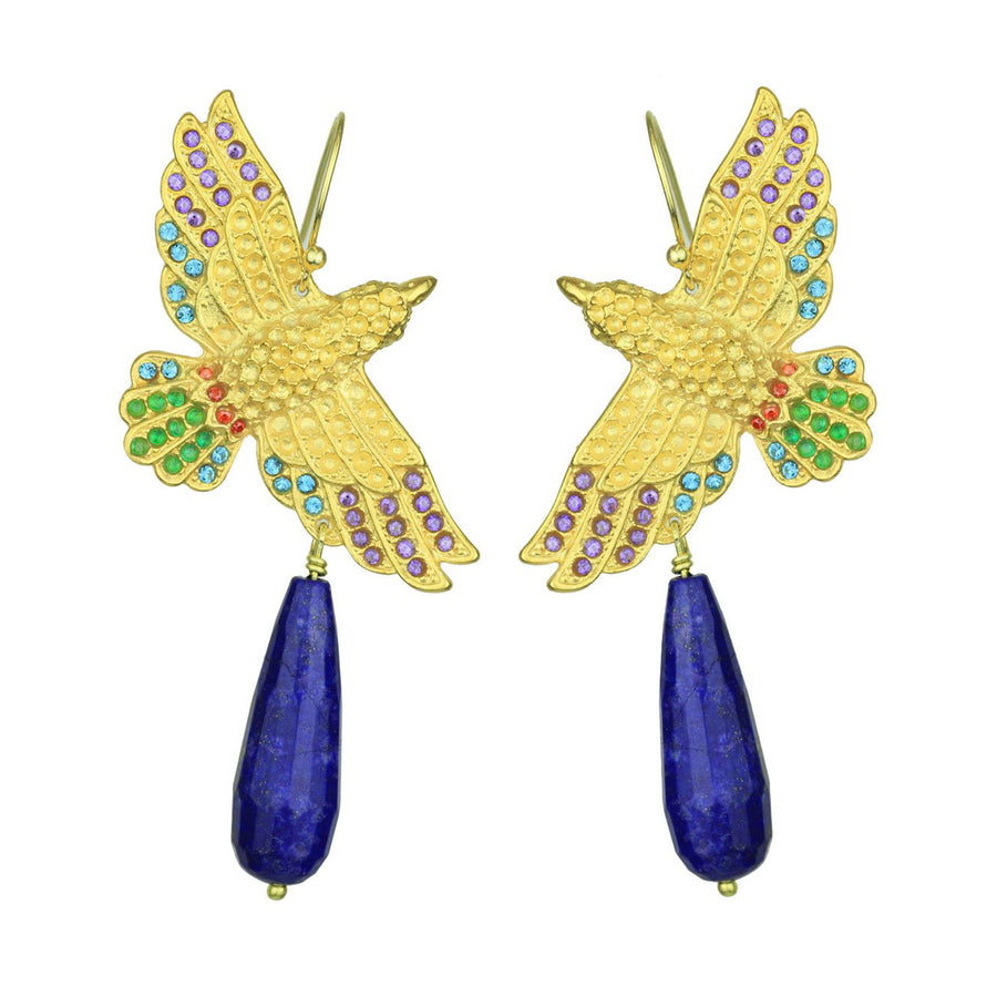 Gold Plated Metal Bird Earrings with Lapis Lazuli Drops