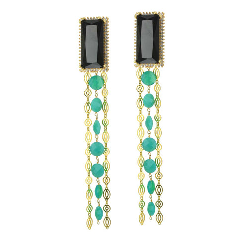 Melissa Black Crystal and Chrysoprase Clip Earrings