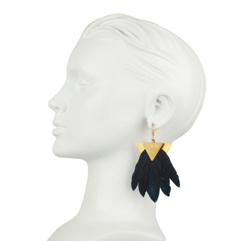 Artemis Black Feather Gold Plated Metal Earrings