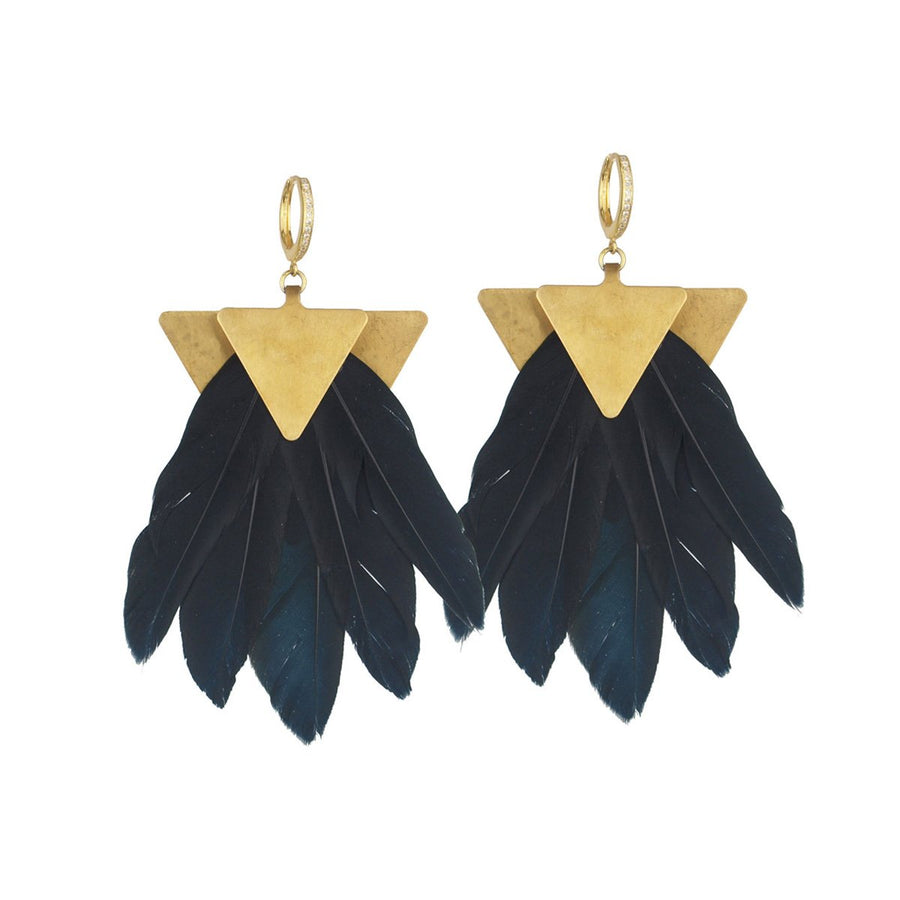 black feather dangle earrings katerina psoma