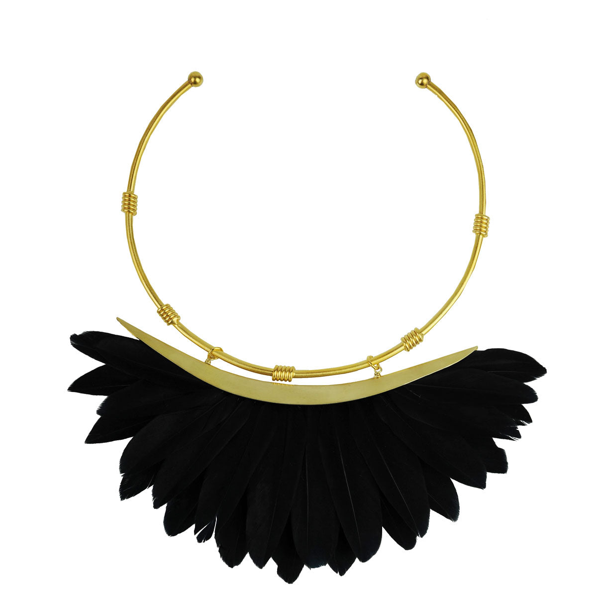 black feather collar necklace katerina psoma