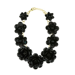 Sylvia Black Flower Short Necklace