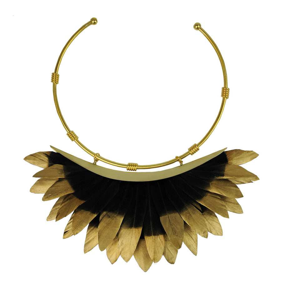 black and gold feather collar necklace katerina psoma
