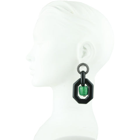 Memphis Black Octagon with Green Beads Earrings