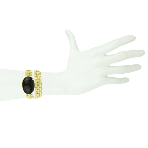 Aurelie Gold Plated Chain Double Wrap Bracelet with Black Onyx