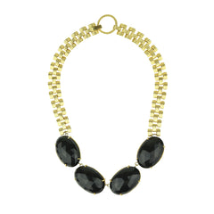 Aurelie Onyx Gold Plated Chain Short Necklace