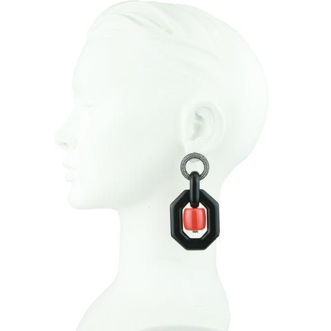 Memphis Black Octagon with Orange Beads Earrings