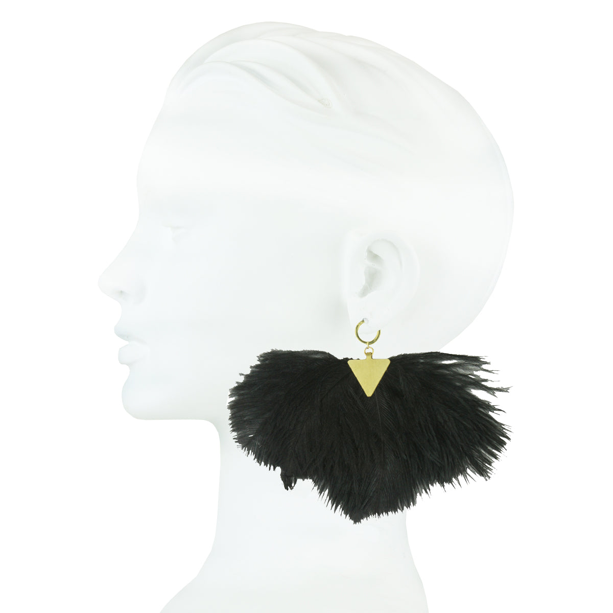 statement silver earring with black ostrich feather katerina psoma