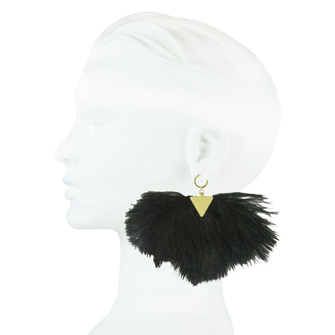 Artemis Black Ostrich Feather Gold Plated Metal Earrings