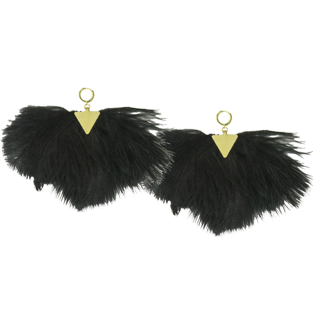 black ostrich feather dangle earrings katerina psoma