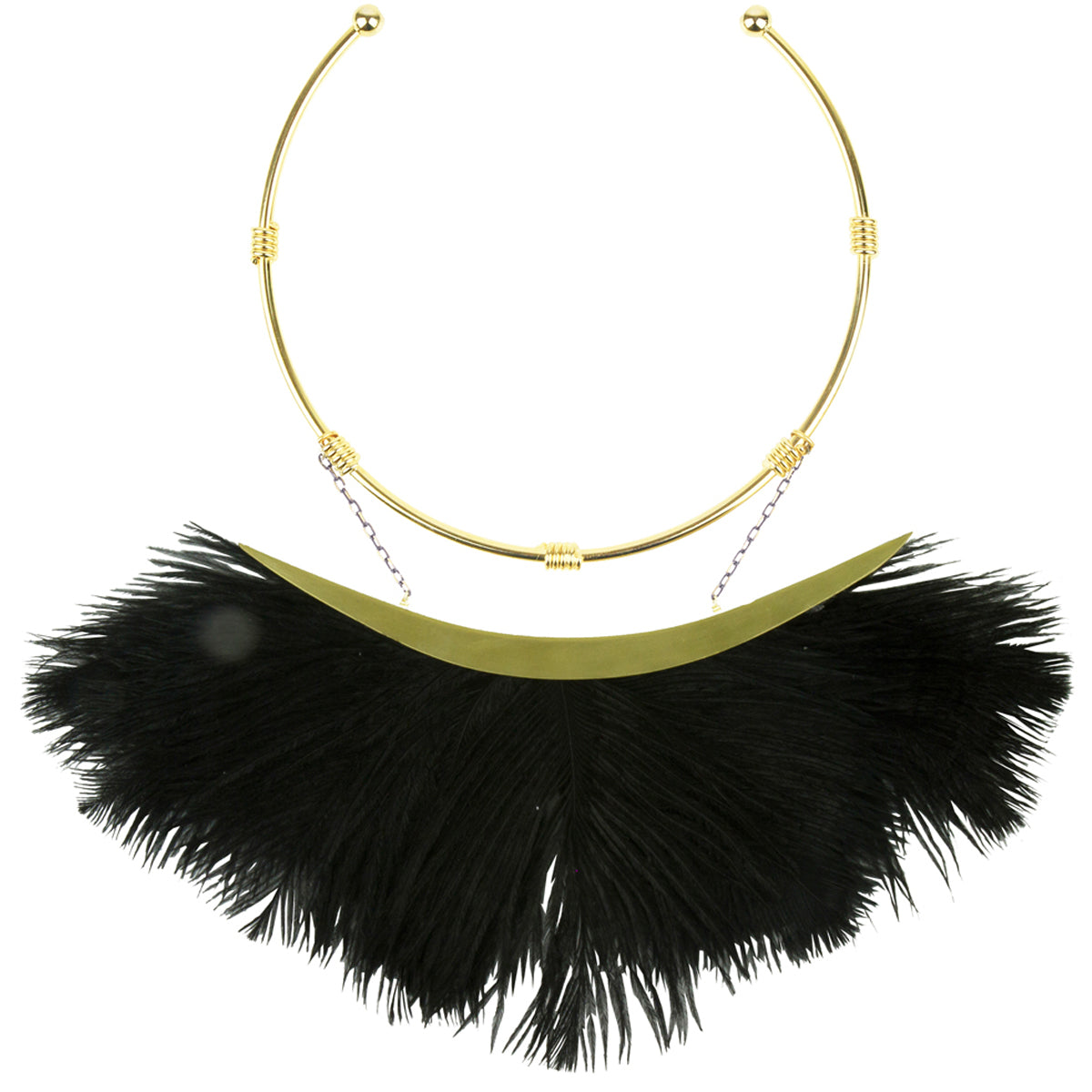 Ostrich Black Feather Gold Plated Collar Necklace