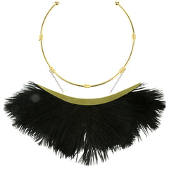 Artemis Black Ostrich Feather Gold Plated Collar Necklace