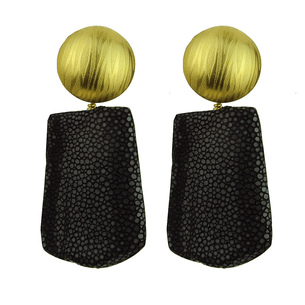 gold plated clip earrings with  black stingray drops katerina psoma