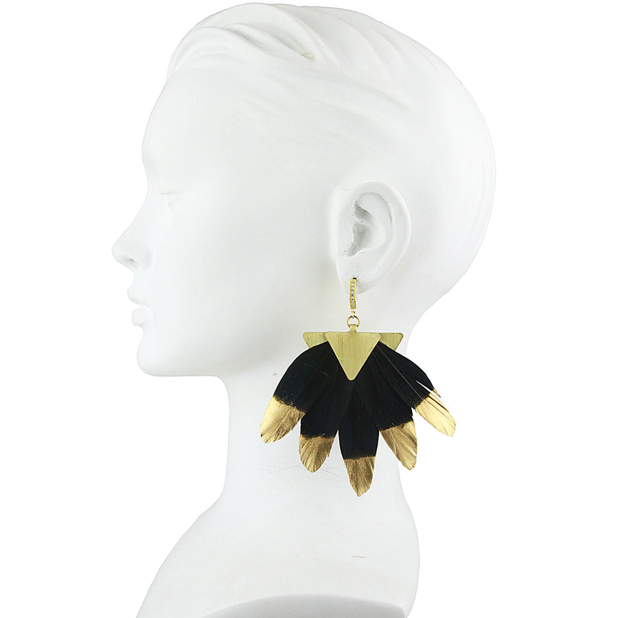 silver dangle earring with black and gold feather katerina psoma
