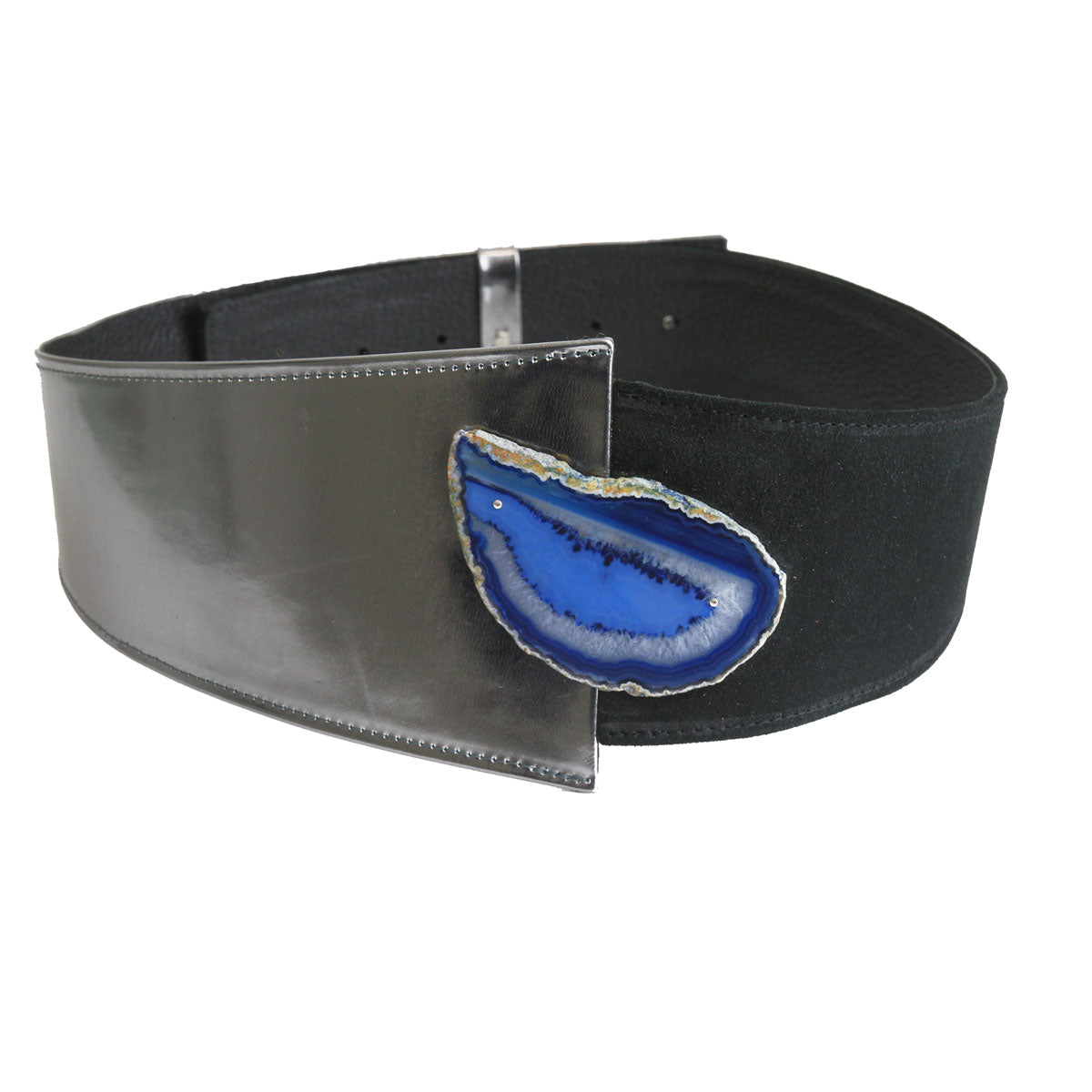 Suede and Metallic Leather Belt with Agate Stone
