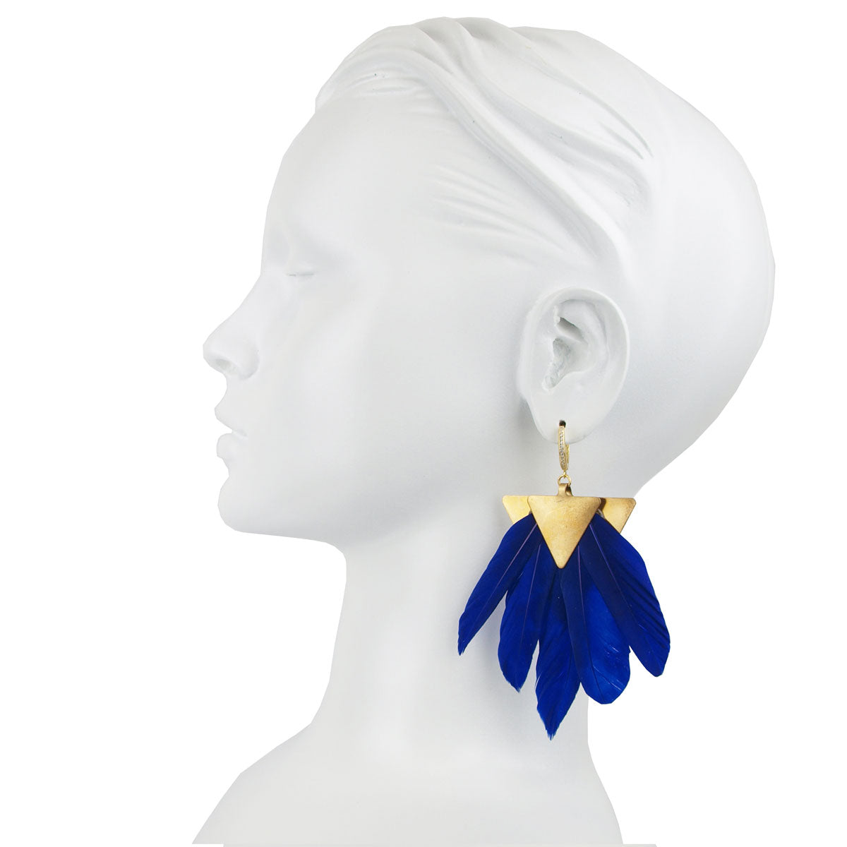 silver dangle earring with blue feather