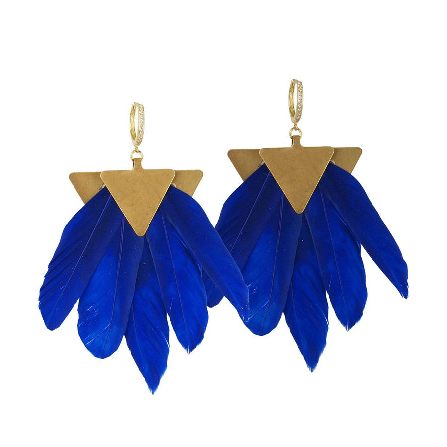 blue feather dangle earrings katerina psoma