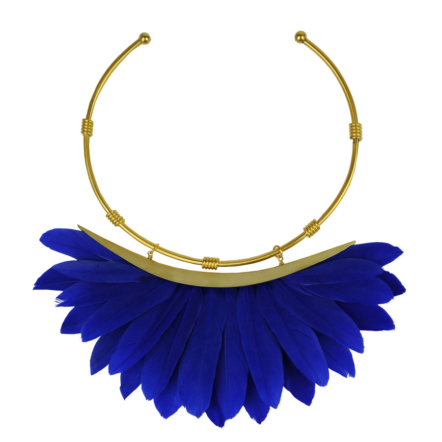 collar necklace blue feathers katerina psoma