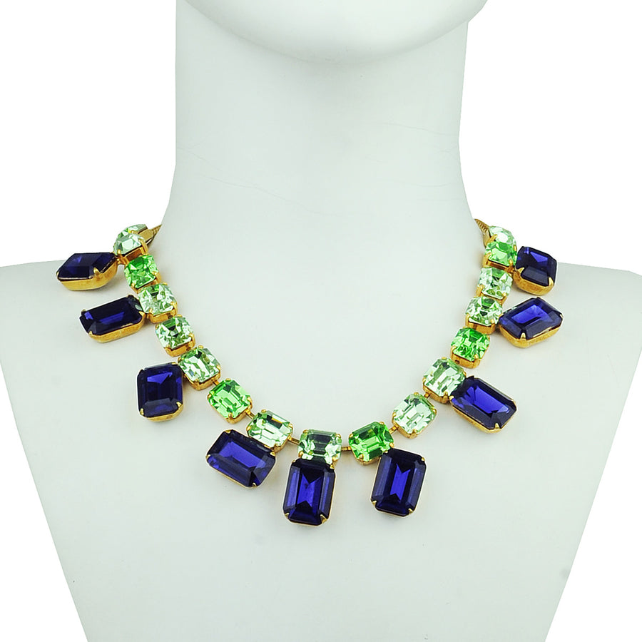 crystal statement short necklace blue and green katerina psoma
