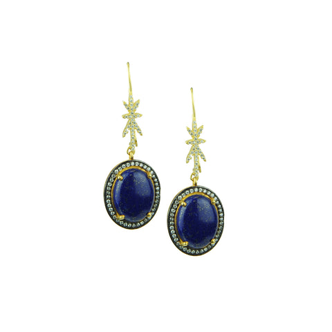 Areti Lapis Lazuli and Diamond Hook Earrings