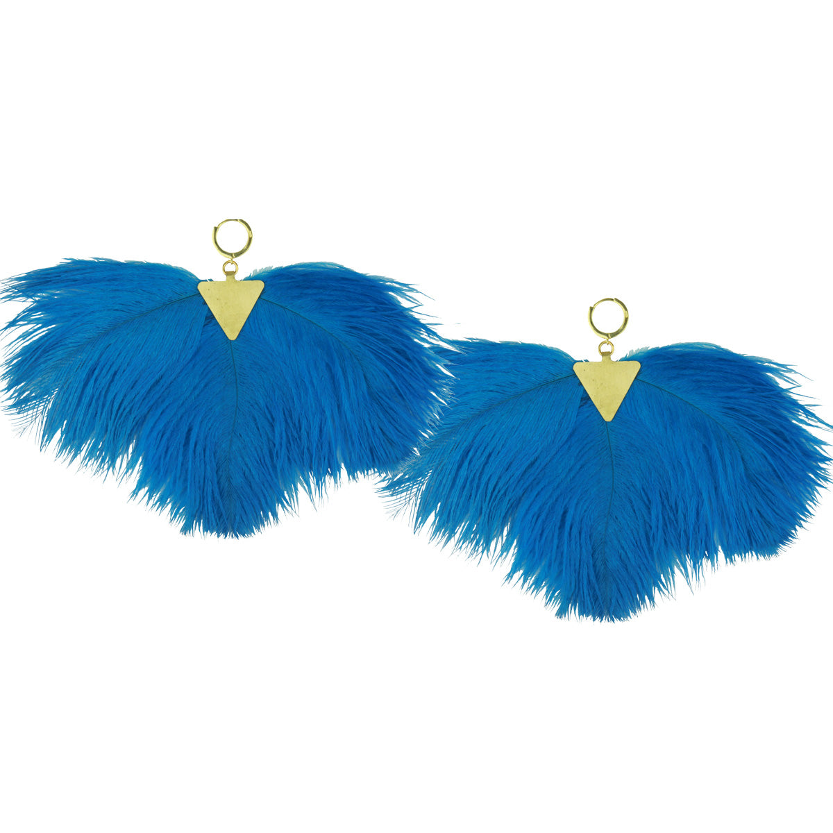 Artemis Blue Ostrich Feather Gold Plated Metal Earrings