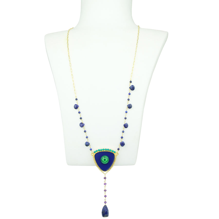 Lapis Lazuli Rosary with Green Glass Eye
