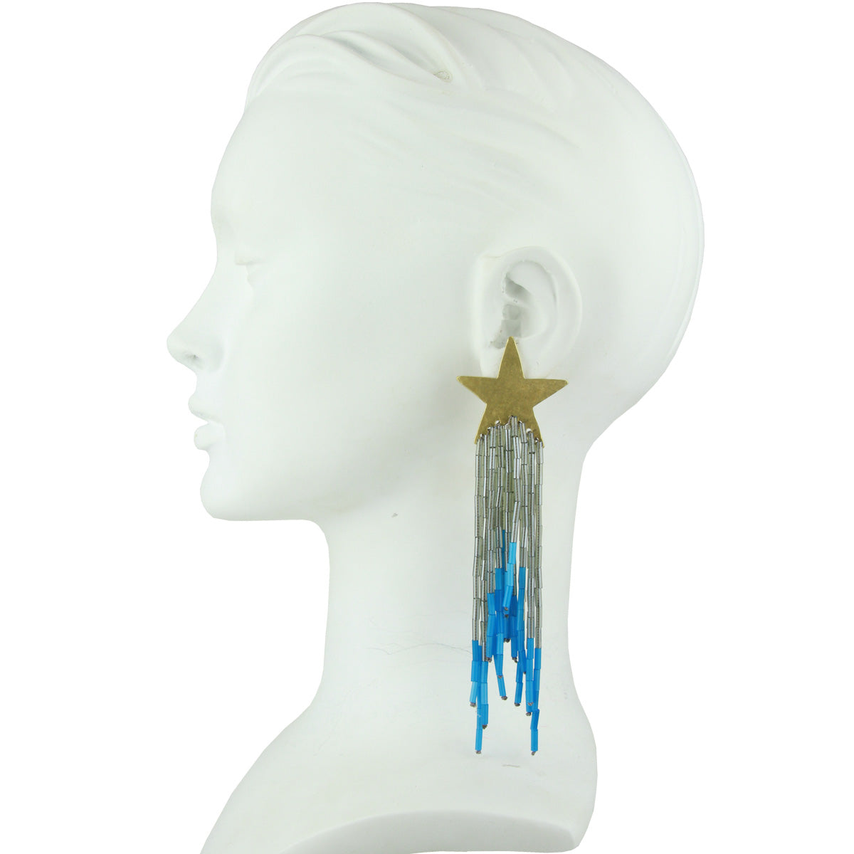 Celeste Star Earrings with Silver and Blue Tassel