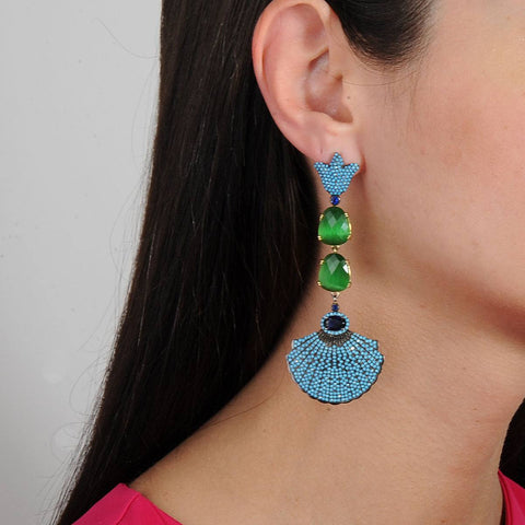 Ishtar Dangle Earrings with Green and Turquoise Crystals