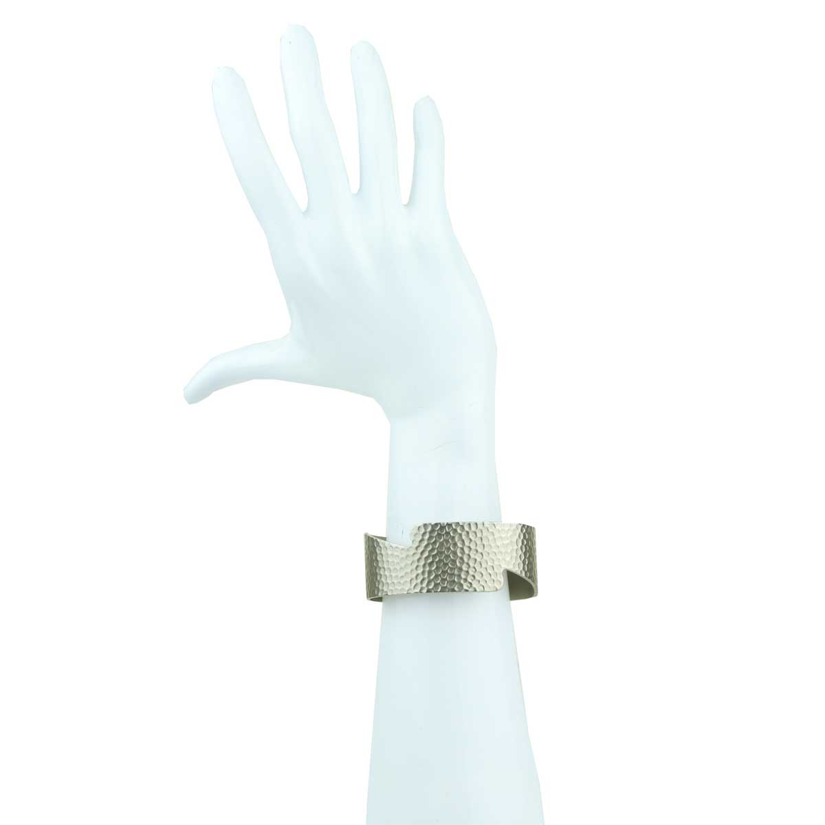 Selene Silver and Bronze Metal Pair of Cuff Bracelets