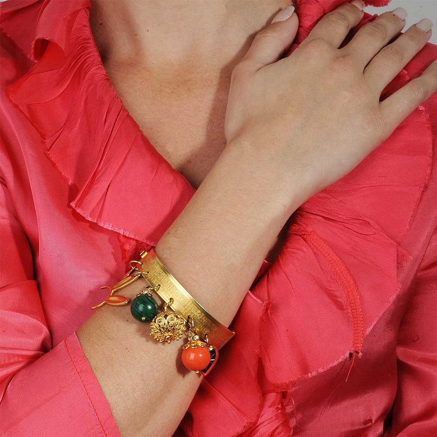 Gold plated Bronze cuff bracelet with charms katerina psoma