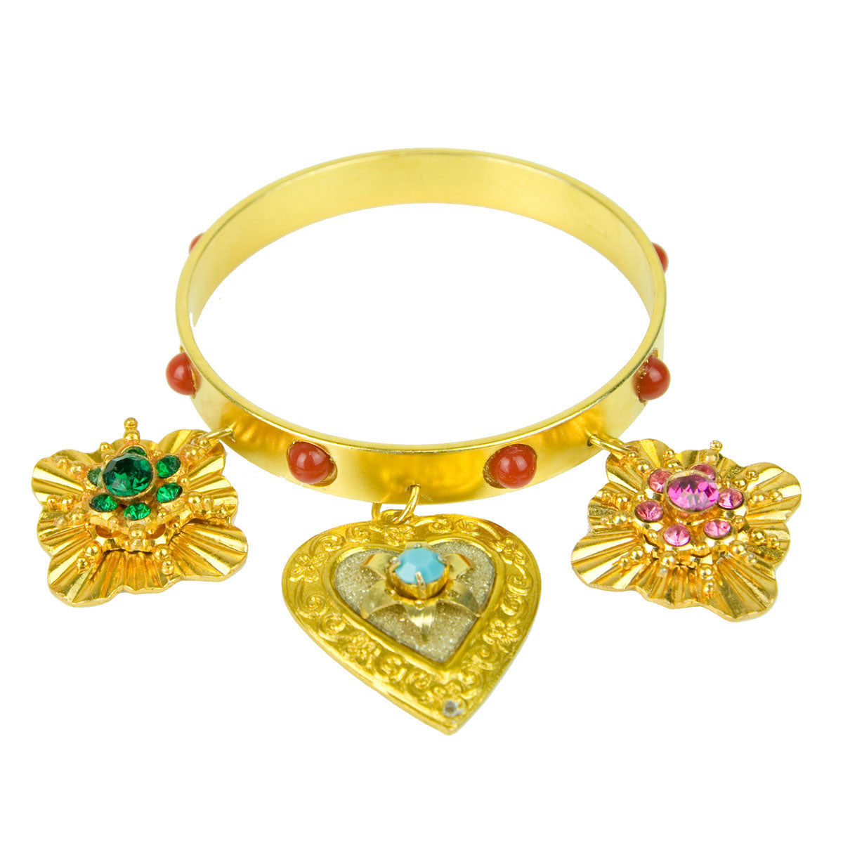 gold plated vintage bracelet with charms