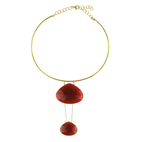 Selene Gold Plated 925 Sterling Silver Collar Necklace with Cornelian Drops