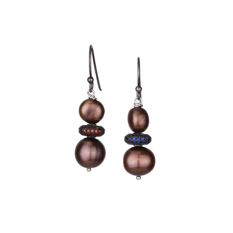 Eclipse Brown Pearl Hook Earring
