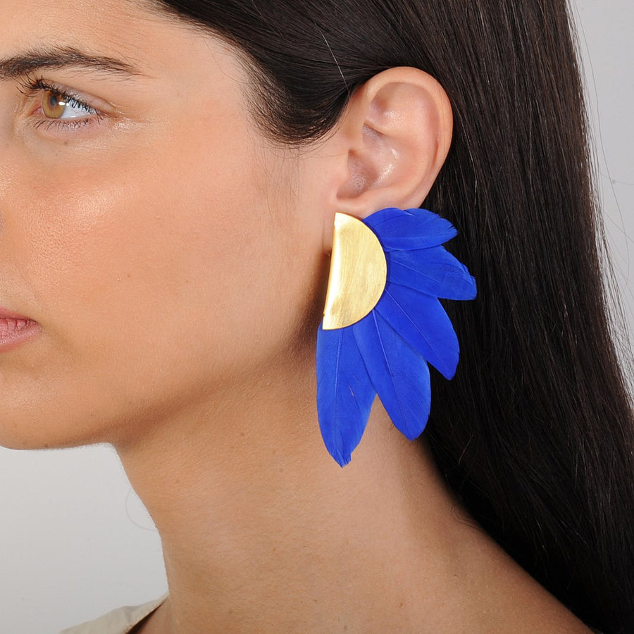 Blue Feather and Gold Plated Metal Clip Earrings model