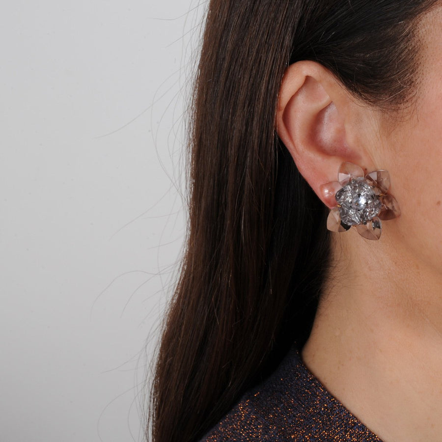 easy to wear Transparent Small Flower Clip Earrings katerina psoma